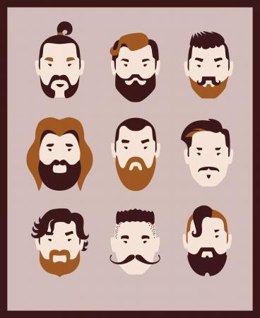 barber shop: man met snor en baard icon set Stock Illustratie