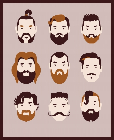 cartoon hairdresser: man with mustache and beard icon set Illustration