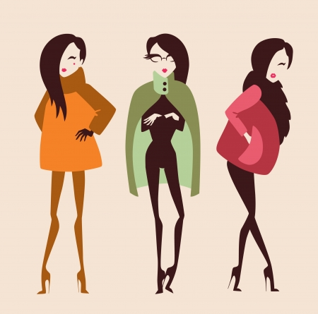 woman fur: fashion girls collection Illustration