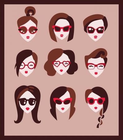 teen girl face: chica de moda en gafas icono establecer