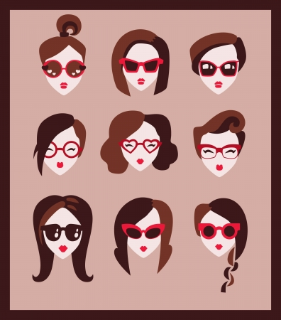 fashion girl in glasses icon set Vector