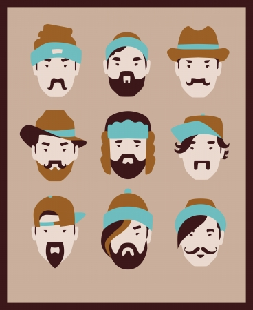 fashion man in hat icon set Vector