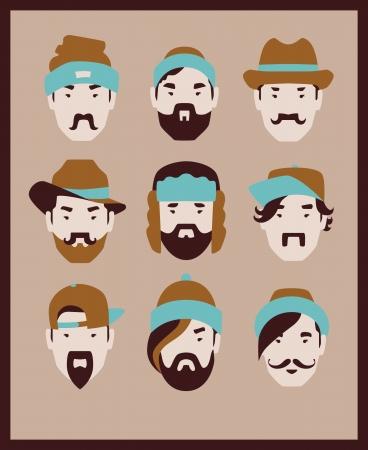 bouliste: mode homme au chapeau de jeu d'ic�nes Illustration