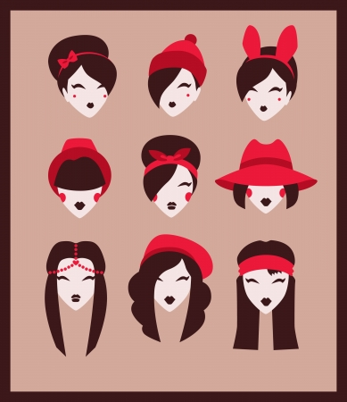fashion girl with accessories icon set