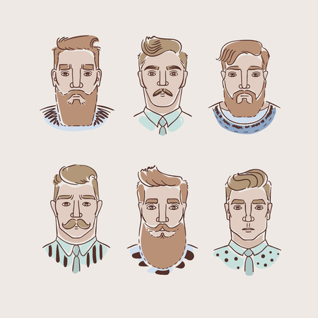 hair colors: Men with different hairstyles, beards and mustaches. Collection of vector illustrations