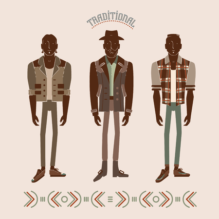 men in modern and retro clothes fashion illustration