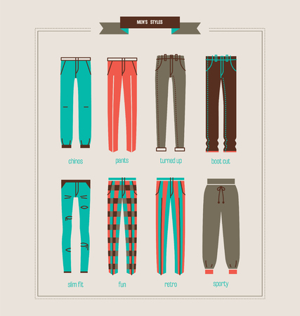 chinos: mens pants and jeans vector illustration