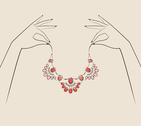 bocetos de personas: Beautiful woman hand holding jewelry .