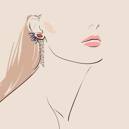 bonito: mujer que lleva hermosa pendientes. Vectores