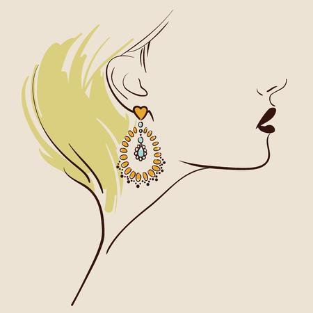 bijouterie: Beautiful woman wearing earrings