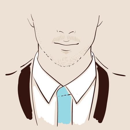 Man Gesicht von Hand gezeichnet. Porträt einer schönen jungen Mann. Illustration Standard-Bild - 71549919