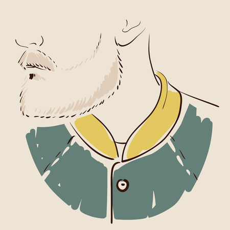 Man face hand drawn. Portrait of a young handsome man. illustration Illustration