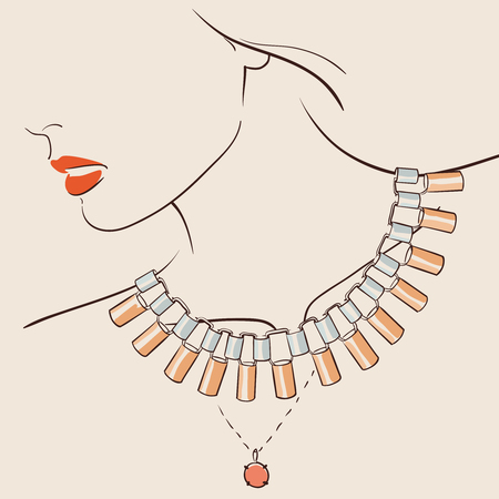 beauty woman face: Beautiful woman wearing a necklace. Illustration
