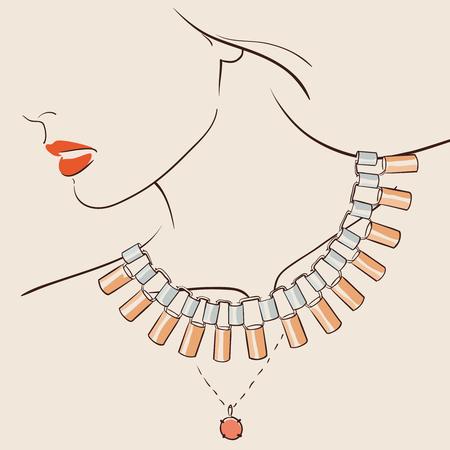 fashion jewelry: Beautiful woman wearing a necklace. Illustration