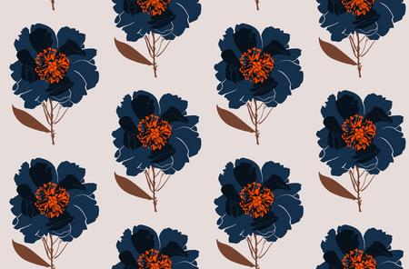 Blumenpfingstrose nahtlose Muster. Blumen isoliert Vektorabbildung ENV 10 Standard-Bild - 78454468