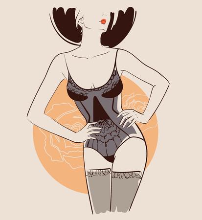 Schöne Frau, die reizvolle Wäsche trägt. Vektor-Illustration eps 10 Standard-Bild - 79459969