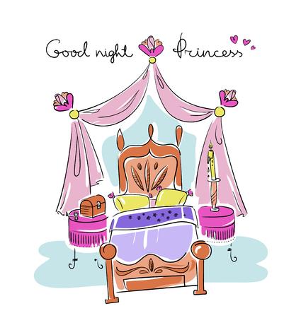 Schlafzimmer für ein Mädchen. Prinzessin Stil: Bett, Baldachin, Nachttisch, Blume. Linie Kunst Illustration Vektor eps 10 Standard-Bild - 79460031