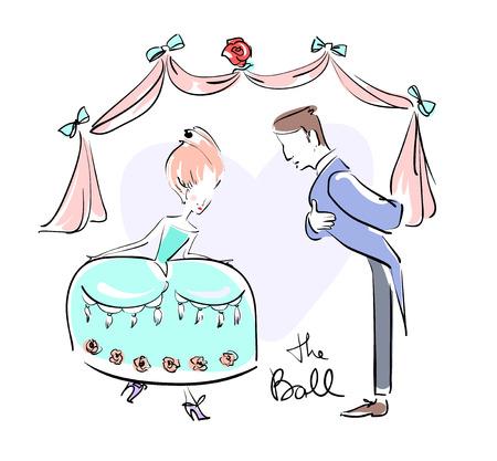 Mann und Frau am Ball verkleidet, um Ehrfurcht zu tun. Vektor-Illustration eps 10 Standard-Bild - 79460039