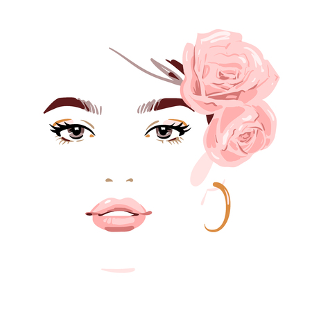 Beautiful woman with flowers in her hair. Vector illustration eps 10