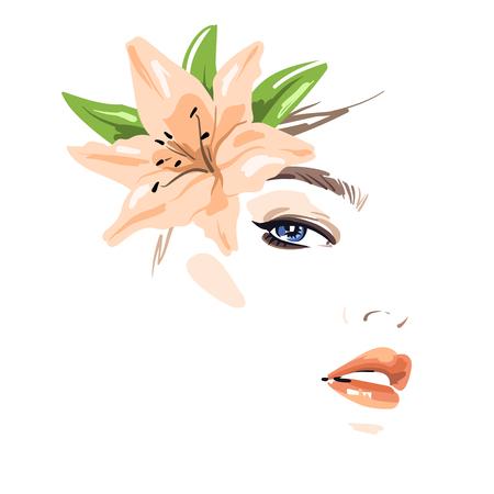 Schöne Frau mit Blumen in ihrem Haar. Vektor-Illustration eps 10 Standard-Bild - 81569400