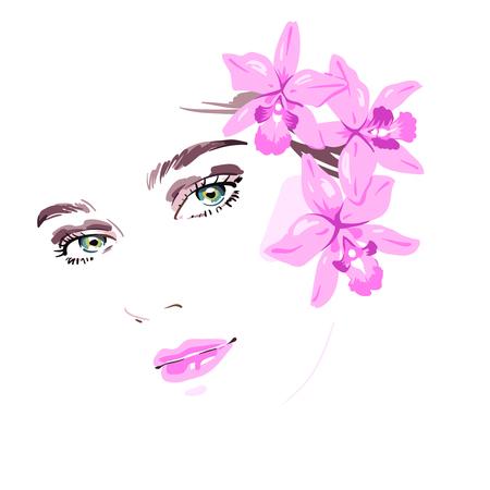 Mooie vrouw met bloemen in haar haar. Vector illustratie eps 10