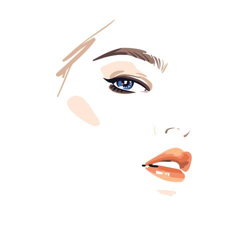 Rosto de mulher bonita. Ilustração vetorial eps 10