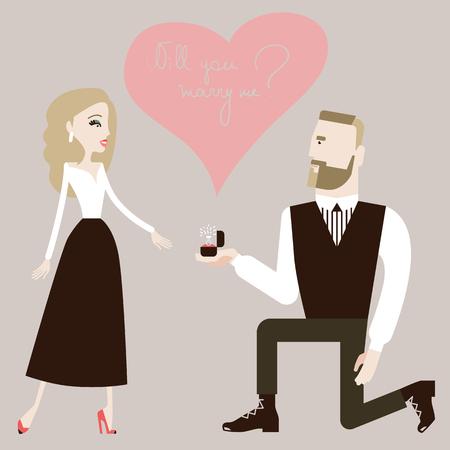 Mann, der auf einem Knie steht und einen Vorschlag an seine Frau macht. Vektor-Illustration eps 10 Standard-Bild - 82575811