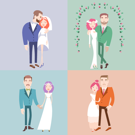 Man and woman getting married. Couples collection. Wedding vector illustration eps 10