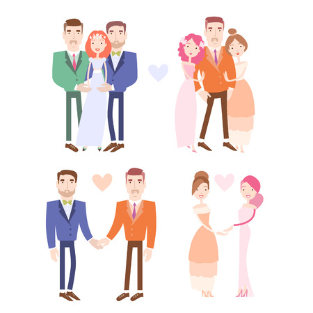 Gay and lesbian couples getting married. Man and woman wedding collection. Vector illustration eps 10