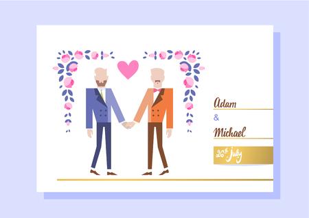 Homosexuelles Paar, das heiratet. Zwei Frauen, die Hände anhalten. Vektor-Illustration eps 10 Standard-Bild - 82587395