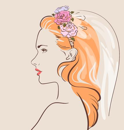 Schöne Frau im Schleier mit einem stilvollen Haar tun. Hübsche Braut. Vektor-Illustration eps 10 Standard-Bild - 82742158
