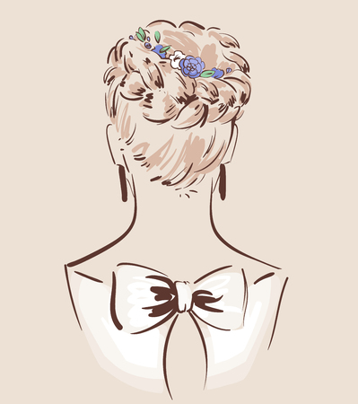 Beautiful hair accesories for wedding. Bride with her hair done and decorated. View from the back. Bridal fashion. Vector illustration eps 10