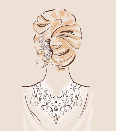 Schöne Haare Zubehör für Hochzeit. Braut mit ihrem Haar fertig und dekoriert. Blick von hinten. Brautmode Vektor-Illustration eps 10 Standard-Bild - 82742174