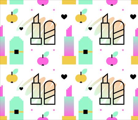 Nahtloses Muster der Frauensymbole. Lippenstift, Äpfel. Pixel Art und Linie Kunststile. Vektor-Illustration eps 10 Standard-Bild - 82742175