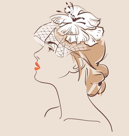 Schöne Frau in Schleier mit einem stilvollen Haar , das die schwarze Haut tut . Vektor-Illustration . Eps 10 Standard-Bild - 82742173