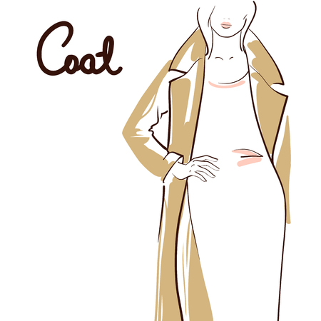 Schöne Frau, die einen Mantel trägt. Strichzeichnungen. Getrennt auf weißem Hintergrund. Standard-Bild - 83019871