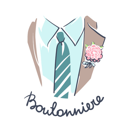 attribute: Wedding celebration attribute. Groom suit, shirt, tie and boutonniere close up. Line art on white background. Illustration