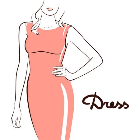 Schöne Frau, die ein Kleid trägt. Strichzeichnungen. Getrennt auf weißem Hintergrund. Standard-Bild - 82973166