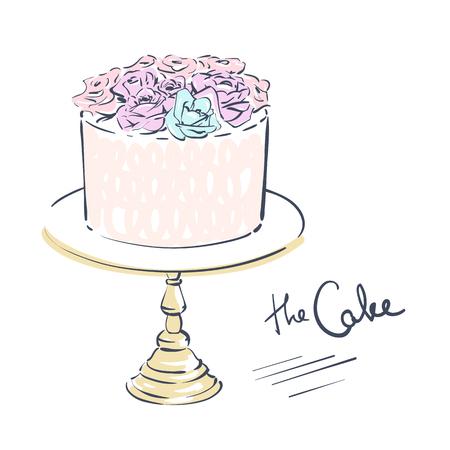 Hochzeitsfeier Attribut. Kuchen dekoriert mit Blumen auf einem Ständer. Linie Kunst auf weißem Hintergrund. Vektorabbildung ENV 10. Standard-Bild - 83076435