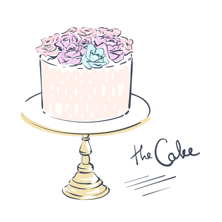 Wedding celebration attribute. Cake decorated with flowers on a stand. Line art on white background. Vector illustration eps 10.
