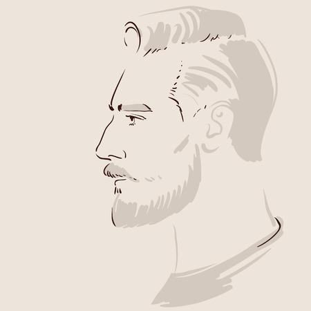 Man Gesicht Hand gezeichnet. Linie Kunstporträt eines jungen gutaussehenden Mannes. Vektor-Illustration Standard-Bild - 83020832
