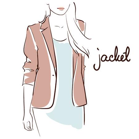 Schöne Frau, die eine Jacke trägt. Strichzeichnungen Getrennt auf weißem Hintergrund. Standard-Bild - 82973205