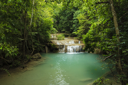celeste: waterfall at North Thailand near river Kwai Stock Photo