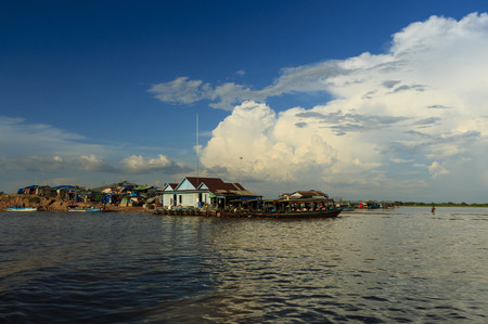 house float on water: Floating village at Cambodia