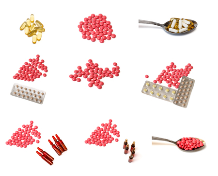 ampules: pills and ampules isolated on a white background collage Stock Photo