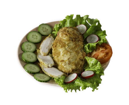 chiken: chiken meat with vegetables isolated on a white background