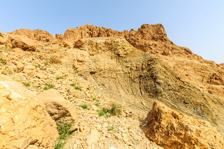 reserve: Landscape of a canyon in stone desert. Sahara gorge at sunny day.
