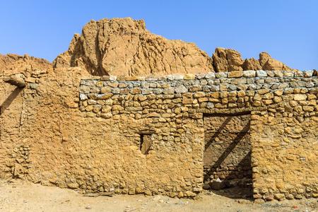 Stone dwelling in the desert Sahara, Tunisia. Stock Photo