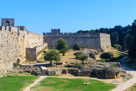 Medieval Castle of the Knights, old town of Rhodes Island, Greece. Stock Photo