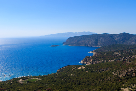 Landscape with a beach at Rhodes in summer day, Greece. Stock Photo